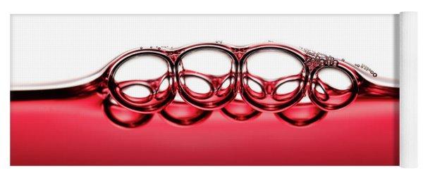 Symmetrical Red Wine Bubbles Yoga Mat