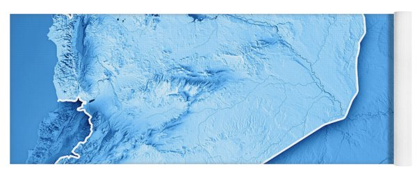 Syria Country 3d Render Topographic Map Blue Border Yoga Mat