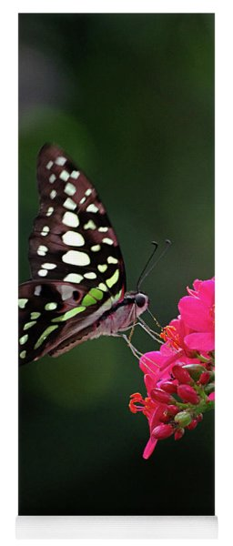 Tailed Jay Butterfly -graphium Agamemnon- On Pink Flower Yoga Mat