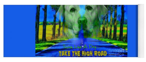 Yoga Mat featuring the digital art Take The High Road by Kathy Tarochione