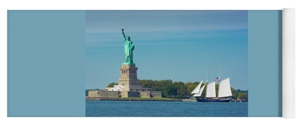 Tall Ship At Statue Of Liberty Yoga Mat