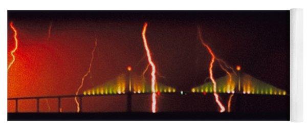 Tampa Bay Lightning Over The Skyway Bridge Yoga Mat