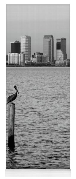 Tampa Skyline And Pelican Black And White Yoga Mat
