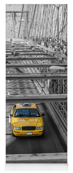 Taxi On The Brooklyn Bridge Yoga Mat