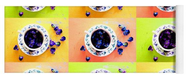 Tea Cups And Violets Yoga Mat