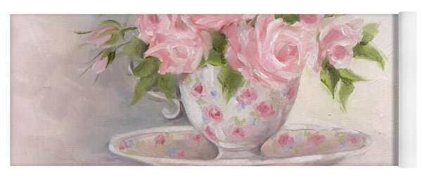Teacup And Saucer Rose Shabby Chic Painting Yoga Mat