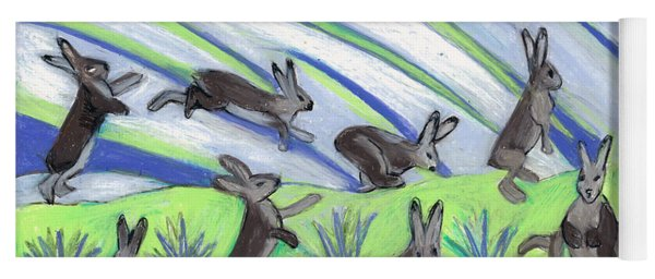 Yoga Mat featuring the painting Ten Leaping Hares by Denise Weaver Ross