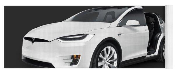 Tesla Model X Luxury Suv Electric Car With Open Falcon-wing Doors Art Photo Print Yoga Mat