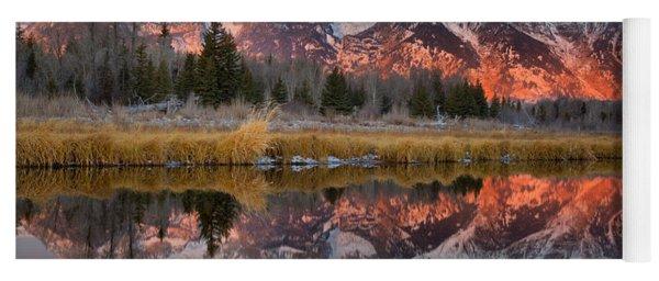 Teton Mountains Sunrise Rainbow Yoga Mat
