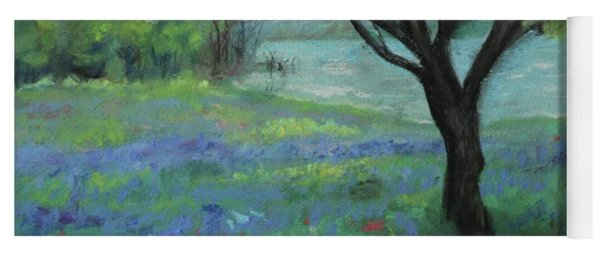 Yoga Mat featuring the painting Texas Bluebonnet Trail by Robin Maria Pedrero