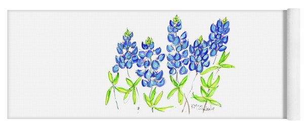 Texas Bluebonnets Watercolor Painting By Kmcelwaine Yoga Mat
