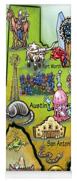 Texas Cartoon Map Yoga Mat