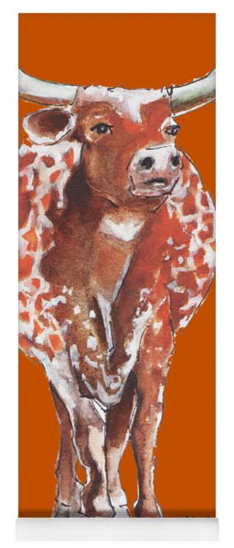Texas Longhorn Taking The Lead Watercolor Painting By Kmcelwaine Yoga Mat