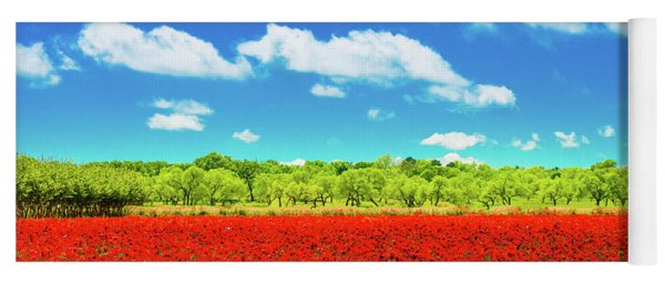 Texas Red Poppies Yoga Mat