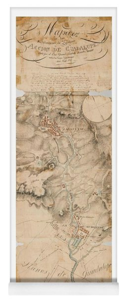Texas Revolution Santa Anna 1835 Map For The Battle Of San Jacinto With Border Yoga Mat