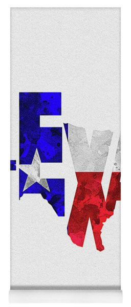 Texas Typographic Map Flag Yoga Mat