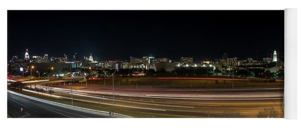 Texas University Tower And Downtown Austin Skyline From Ih35 Yoga Mat
