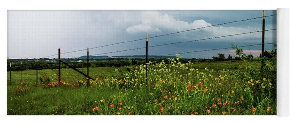 Texas Wildflowers - Vintage Style Photograph Of Central Texas Landscape Yoga Mat