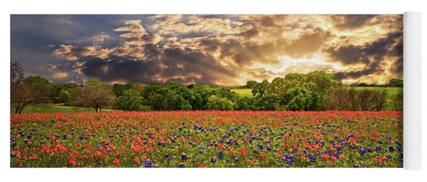 Texas Wildflowers Under Sunset Skies Yoga Mat
