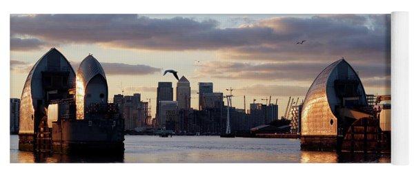 Thames Barrier And Seagulls Yoga Mat