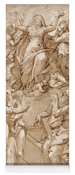 The Assumption Of The Virgin The Apostles Around Her Tomb Below Yoga Mat