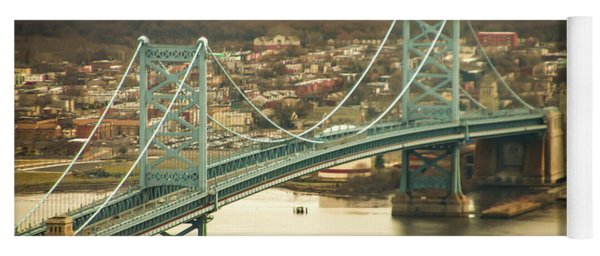 Yoga Mat featuring the photograph The Ben Franklin Bridge From Above by Bill Cannon