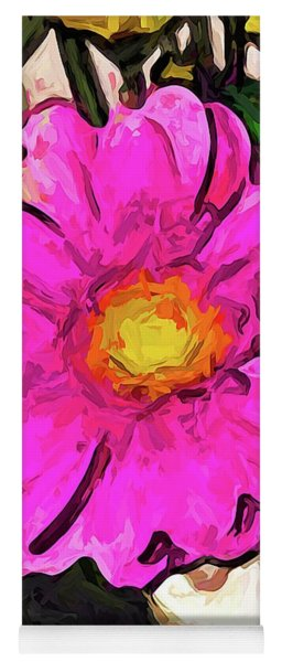 The Big Pink And Yellow Flower In The Little Vase Yoga Mat