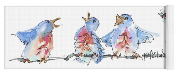 The Birds And The Bee Bird Art Watercolor Painting By Kmcelwaine Yoga Mat