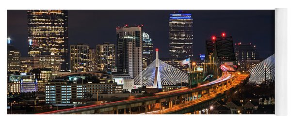 The Boston Skyline Boston Ma Full Zakim Yoga Mat