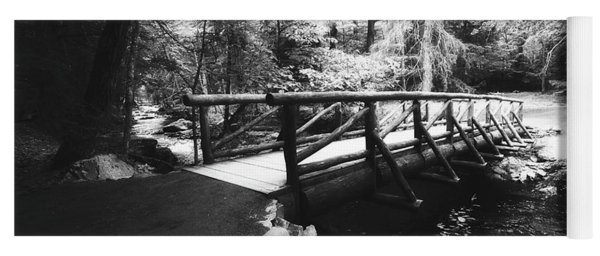 The Bridge Through The Woods In Black And White Yoga Mat