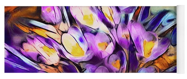 Yoga Mat featuring the mixed media The Colors Of Crocus by Susan Maxwell Schmidt