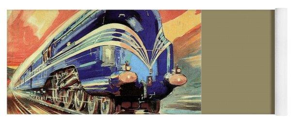 The Coronation Scot - Vintage Blue Locomotive Train - Vintage Travel Advertising Poster Yoga Mat