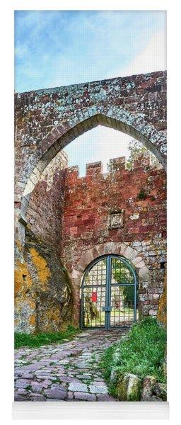 The Entrance To The Monastery Of Escornalbou Yoga Mat