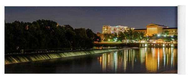 Yoga Mat featuring the photograph The Fairmount Dam And Art Museum At Night Panorama by Bill Cannon