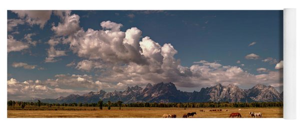 The Grand Tetons National Park Horses Olena Art Photography   Yoga Mat
