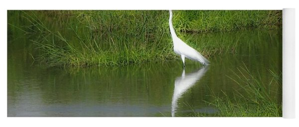 Great Egret By The Waters Edge Yoga Mat