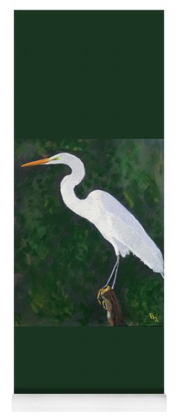 Yoga Mat featuring the painting The Great Egret by Deborah Boyd