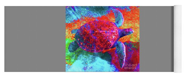 The Great Sea Turtle In Abstract Yoga Mat