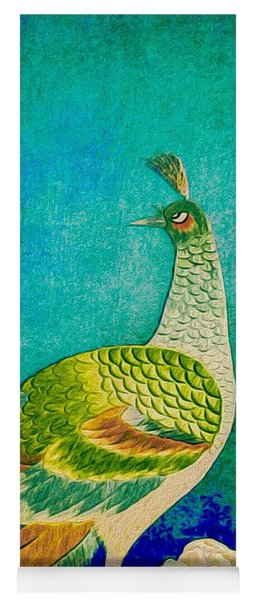Yoga Mat featuring the tapestry - textile The Handsome Peacock - Kimono Series by Susan Maxwell Schmidt