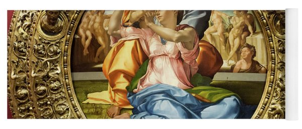 The Holy Family - Doni Tondo - Michelangelo - Round Canvas Version Yoga Mat