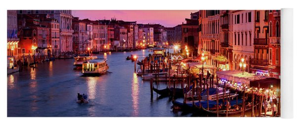 The Blue Hour From The Rialto Bridge In Venice, Italy Yoga Mat