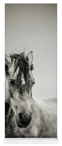 The Lonely Horse Portrait In Black And White Yoga Mat