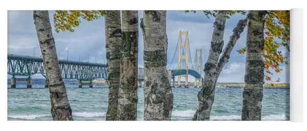 The Mackinaw Bridge By The Straits Of Mackinac In Autumn With Birch Trees Yoga Mat