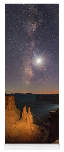 The Milky Way And The Moon From Marlboro Point Yoga Mat