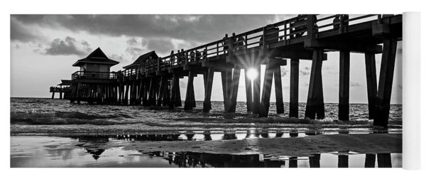 Naples Pier At Sunset Naples Florida Black And White Yoga Mat