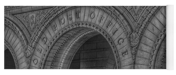 Yoga Mat featuring the photograph The Old Post Office Sign Now Trump International Hotel In Washington D.c.  - Black And White by Marianna Mills