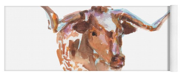 The Original Longhorn Standing Earth Quack Watercolor Painting By Kmcelwaine Yoga Mat