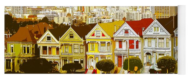 The Painted Ladies In San Francisco California Yoga Mat