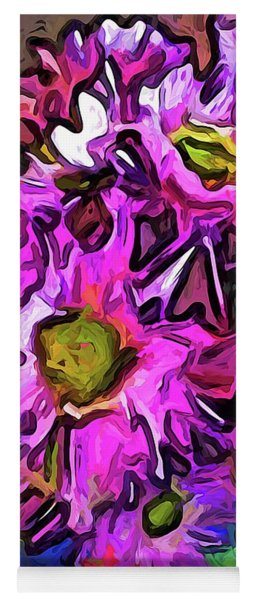 The Pink And Purple Flowers In The Red And Blue Vase Yoga Mat