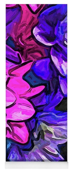 The Pink Petals With The Purple And Blue Flowers Yoga Mat